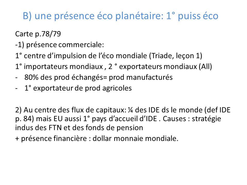 B) une présence éco planétaire: 1° puiss éco Carte p.78/79 -1) présence commerciale: 1° centre dimpulsion de léco mondiale (Triade, leçon 1) 1° import