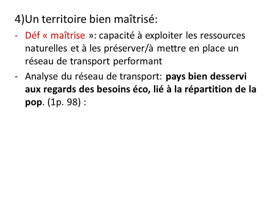 4)Un territoire bien maîtrisé: -Déf « maîtrise »: capacité à exploiter les ressources naturelles et à les préserver/à mettre en place un réseau de tra