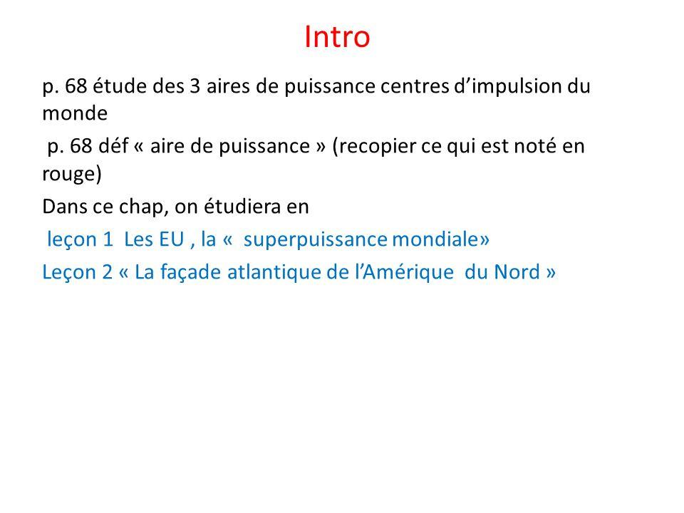 Intro p. 68 étude des 3 aires de puissance centres dimpulsion du monde p. 68 déf « aire de puissance » (recopier ce qui est noté en rouge) Dans ce cha
