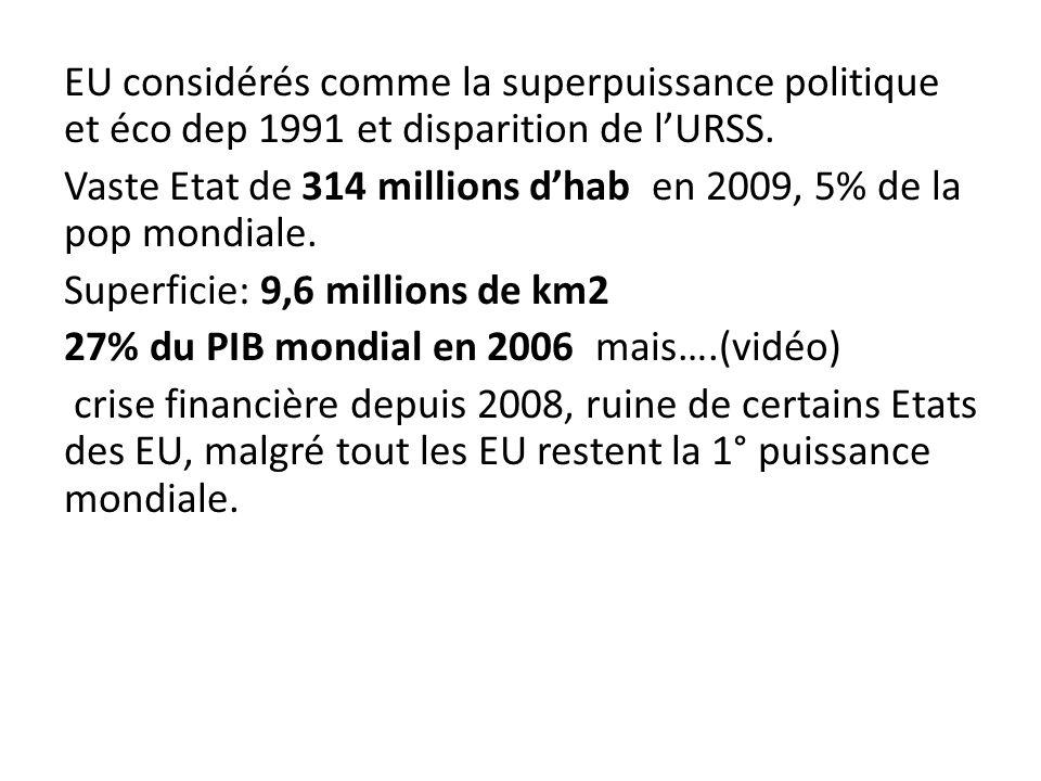 EU considérés comme la superpuissance politique et éco dep 1991 et disparition de lURSS. Vaste Etat de 314 millions dhab en 2009, 5% de la pop mondial
