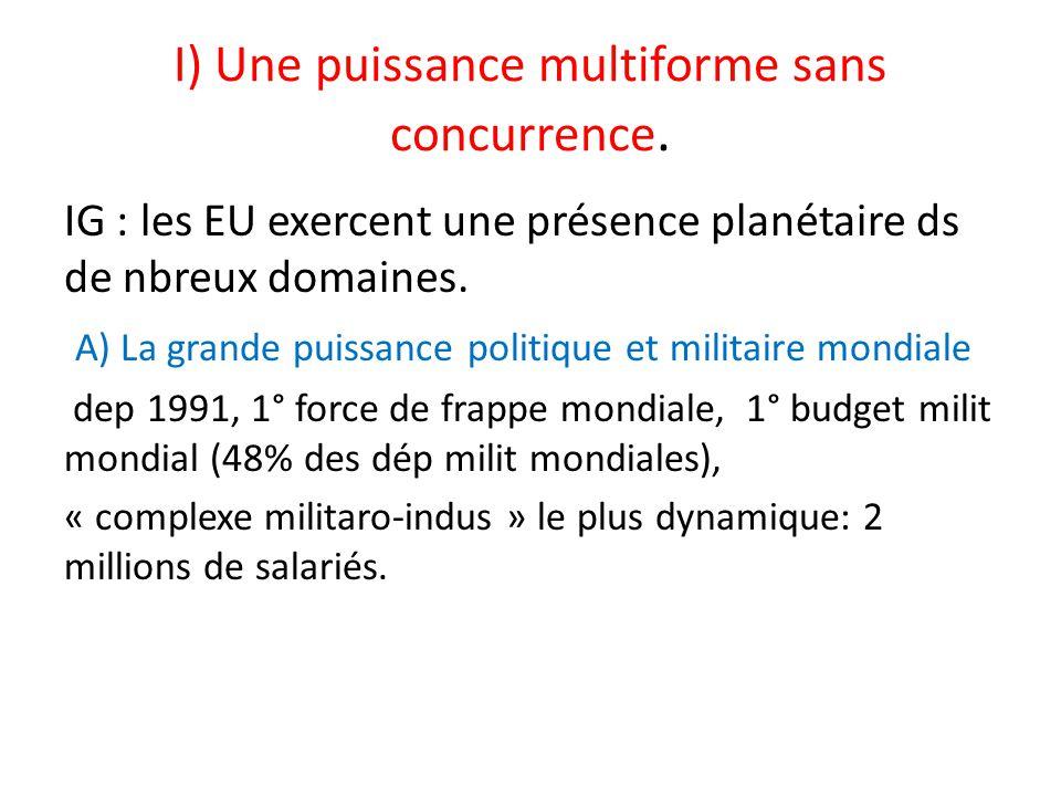 I) Une puissance multiforme sans concurrence. IG : les EU exercent une présence planétaire ds de nbreux domaines. A) La grande puissance politique et