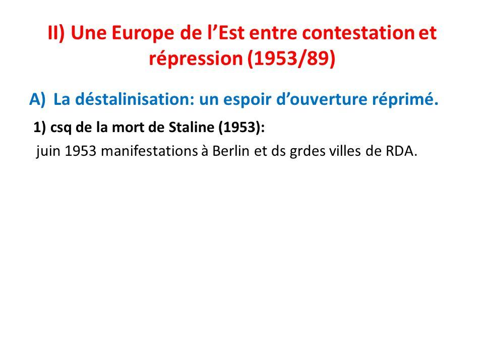 II) Une Europe de lEst entre contestation et répression (1953/89) A)La déstalinisation: un espoir douverture réprimé. 1) csq de la mort de Staline (19