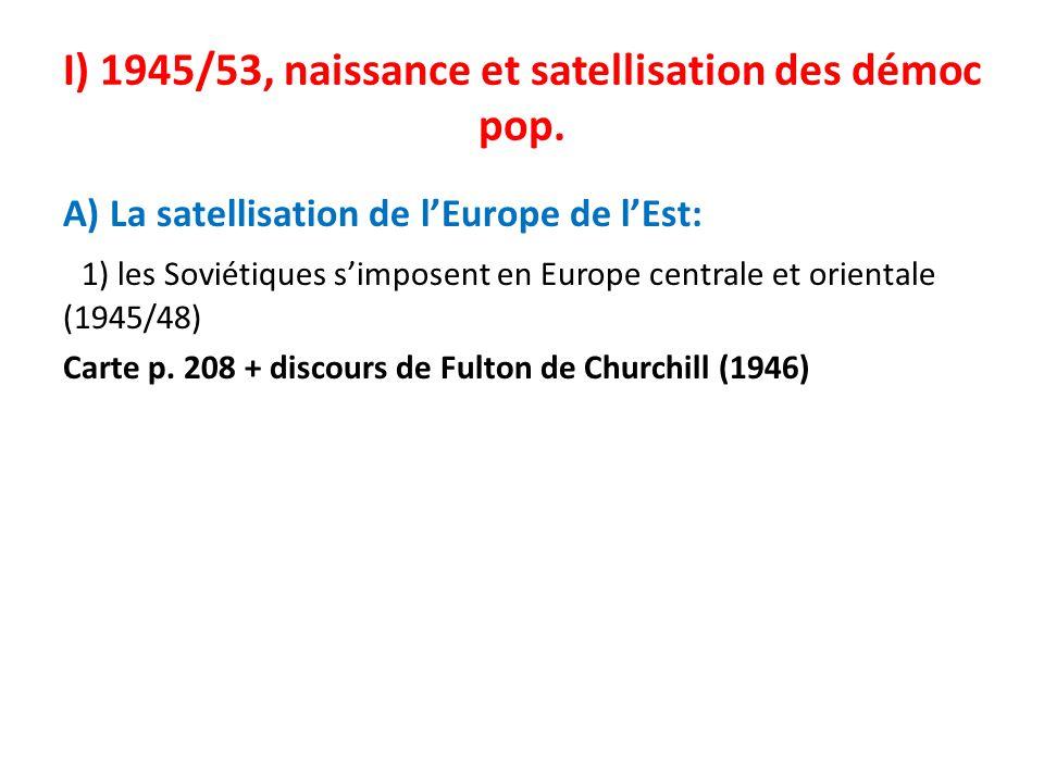 I) 1945/53, naissance et satellisation des démoc pop. A) La satellisation de lEurope de lEst: 1) les Soviétiques simposent en Europe centrale et orien