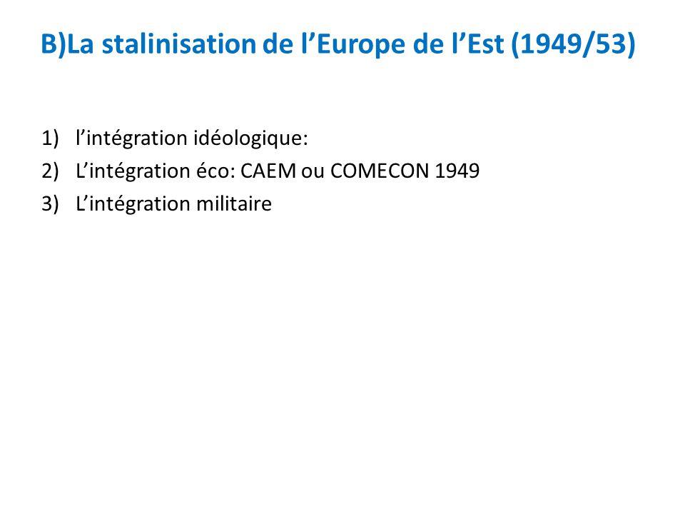 B)La stalinisation de lEurope de lEst (1949/53) 1)lintégration idéologique: 2)Lintégration éco: CAEM ou COMECON 1949 3)Lintégration militaire