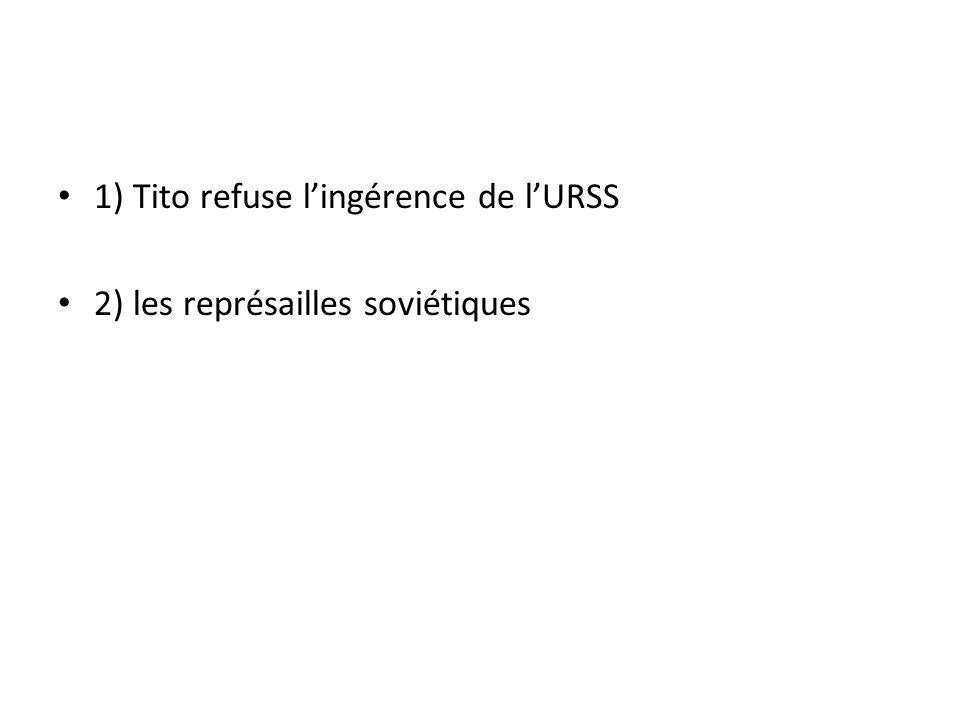 1) Tito refuse lingérence de lURSS 2) les représailles soviétiques