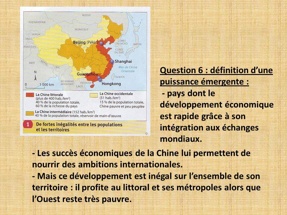 - Les succès économiques de la Chine lui permettent de nourrir des ambitions internationales. - Mais ce développement est inégal sur lensemble de son