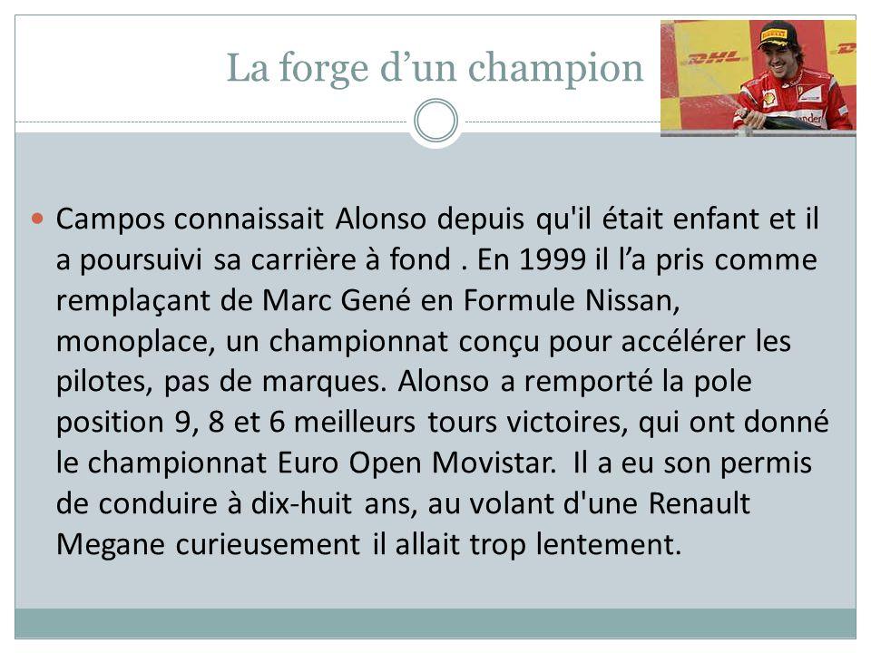 La forge dun champion Campos connaissait Alonso depuis qu'il était enfant et il a poursuivi sa carrière à fond. En 1999 il la pris comme remplaçant de