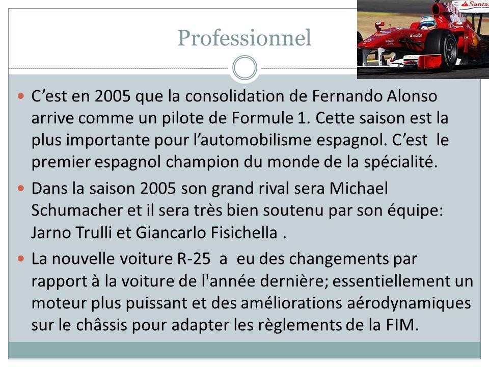 Professionnel Cest en 2005 que la consolidation de Fernando Alonso arrive comme un pilote de Formule 1. Cette saison est la plus importante pour lauto
