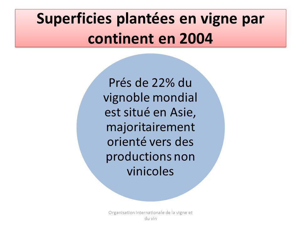 Superficies plantées en vigne par continent en 2004 Prés de 22% du vignoble mondial est situé en Asie, majoritairement orienté vers des productions non vinicoles Organisation internationale de la vigne et du vin