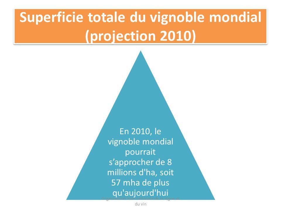 Superficie totale du vignoble mondial (projection 2010) En 2010, le vignoble mondial pourrait sapprocher de 8 millions d ha, soit 57 mha de plus qu aujourd hui Organisation internationale de la vigne et du vin