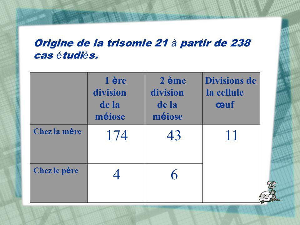 Origine de la trisomie 21 à partir de 238 cas é tudi é s. Divisions de la cellule œ uf 2 è me division de la m é iose 1 è re division de la m é iose 1