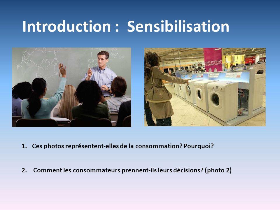 Introduction : Sensibilisation 1.Ces photos représentent-elles de la consommation? Pourquoi? 2. Comment les consommateurs prennent-ils leurs décisions