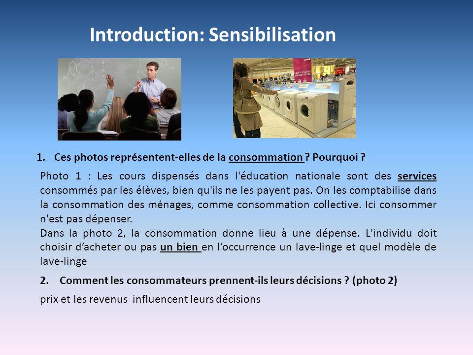 Introduction: Sensibilisation Photo 1 : Les cours dispensés dans l'éducation nationale sont des services consommés par les élèves, bien qu'ils ne les