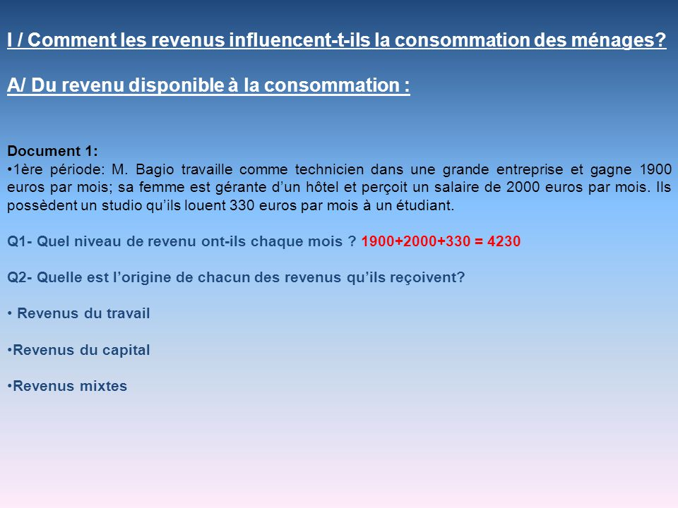 Document 4 Concernant les é lasticit é s-revenu, les r é sultats sont tr è s r é v é lateurs du comportement des consommateurs notamment pour le vin et la bi è re.