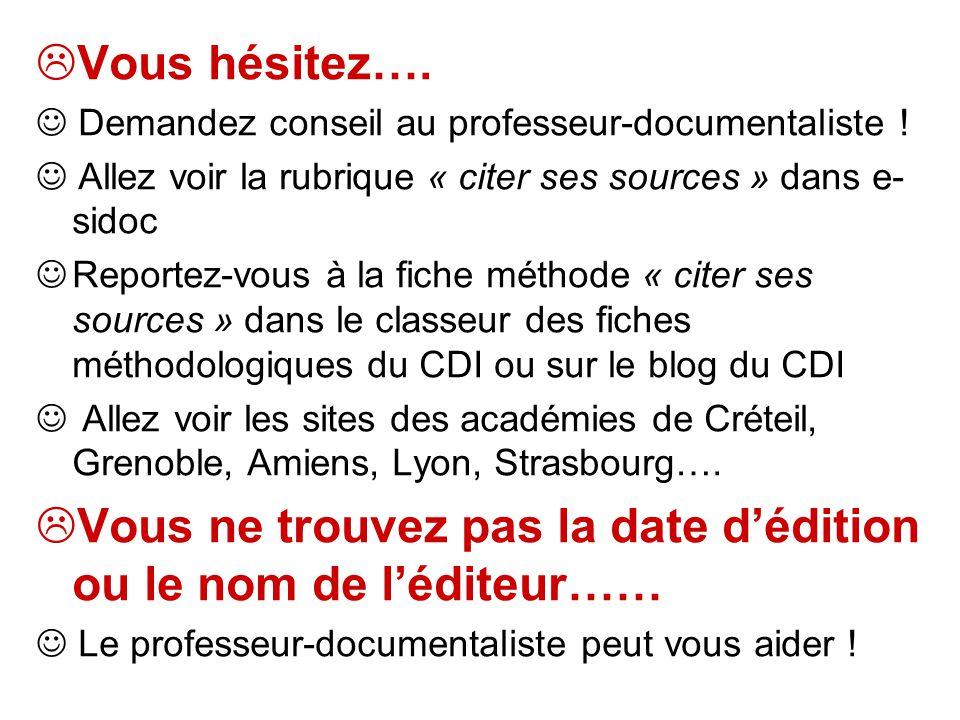 Vous hésitez…. Demandez conseil au professeur-documentaliste ! Allez voir la rubrique « citer ses sources » dans e- sidoc Reportez-vous à la fiche mét