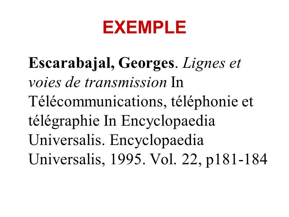 INDICATIONS OBLIGATOIRES Autres livres (y compris manuels scolaires) : Nom de lauteur, Prénom.