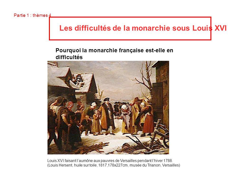 Partie 1 : thèmes 4 Les difficultés de la monarchie sous Louis XVI Pourquoi la monarchie française est-elle en difficultés sous le règne de Louis XVI,