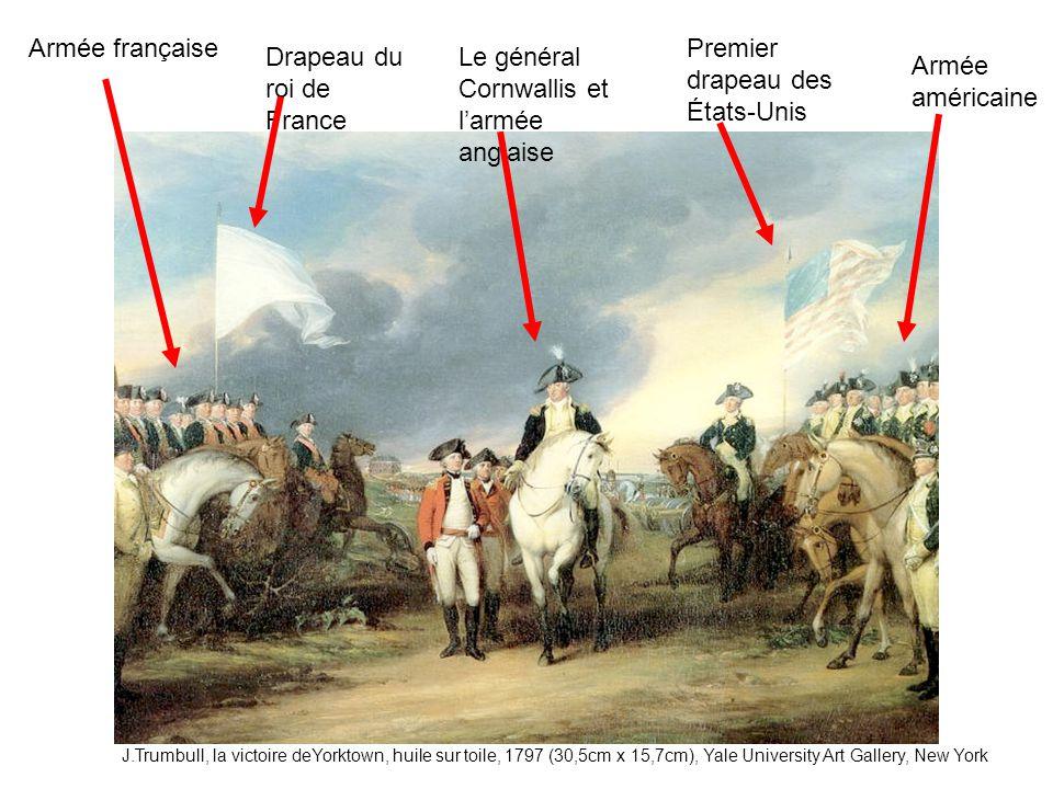 Armée française Drapeau du roi de France Le général Cornwallis et larmée anglaise Premier drapeau des États-Unis Armée américaine J.Trumbull, la victo