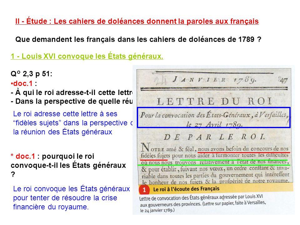 II - Étude : Les cahiers de doléances donnent la paroles aux français Que demandent les français dans les cahiers de doléances de 1789 ? 1 - Louis XVI