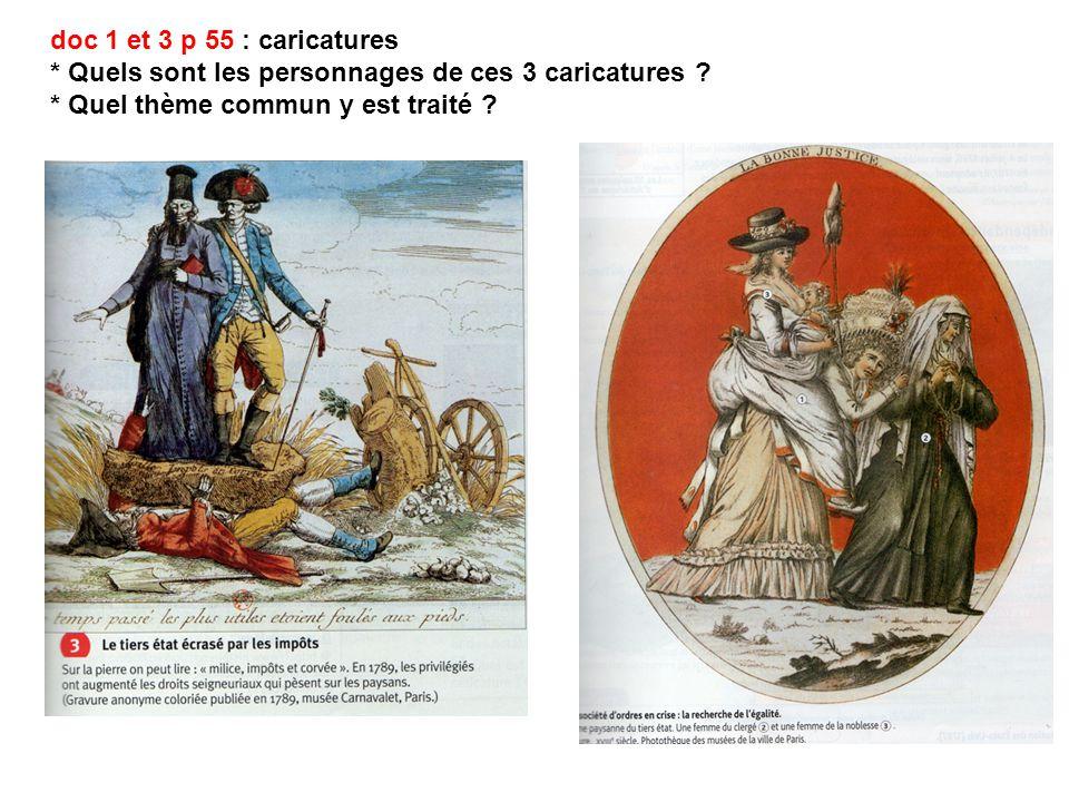 doc 1 et 3 p 55 : caricatures * Quels sont les personnages de ces 3 caricatures ? * Quel thème commun y est traité ?