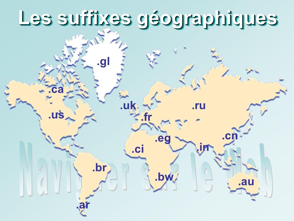Les suffixes géographiques.fr.ca.au.br.uk.ru.gl.ar.ci.eg.in.cn.bw.us
