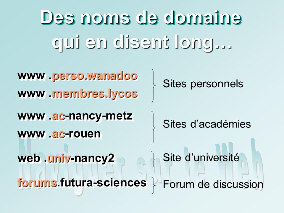 Des noms de domaine qui en disent long… www.perso.wanadoo www.perso.wanadoo www.membres.lycos www.membres.lycos Sites personnels www.ac-nancy-metz www.ac-nancy-metz www.ac-rouen www.ac-rouen Sites dacadémies web.univ-nancy2 web.univ-nancy2 Site duniversité forums.futura-sciences forums.futura-sciences Forum de discussion