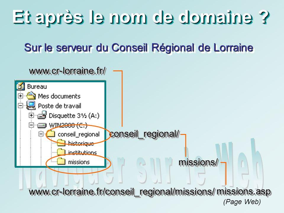 www.cr-lorraine.fr/www.cr-lorraine.fr/ Et après le nom de domaine ? Sur le serveur du Conseil Régional de Lorraine missions/missions/ conseil_regional