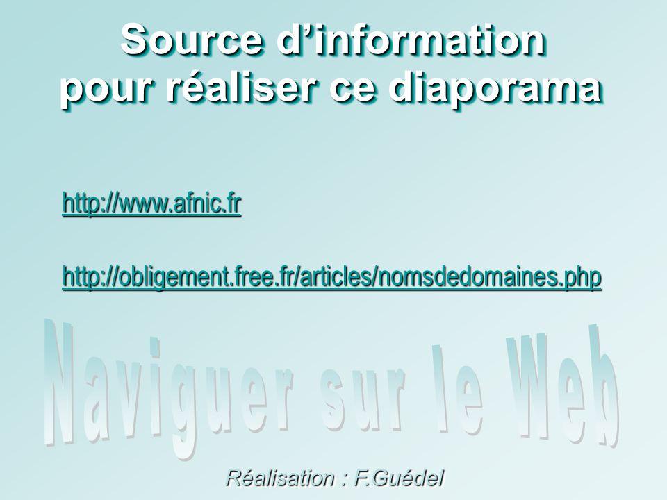 Source dinformation Réalisation : F.Guédel pour réaliser ce diaporama http://www.afnic.fr http://obligement.free.fr/articles/nomsdedomaines.php