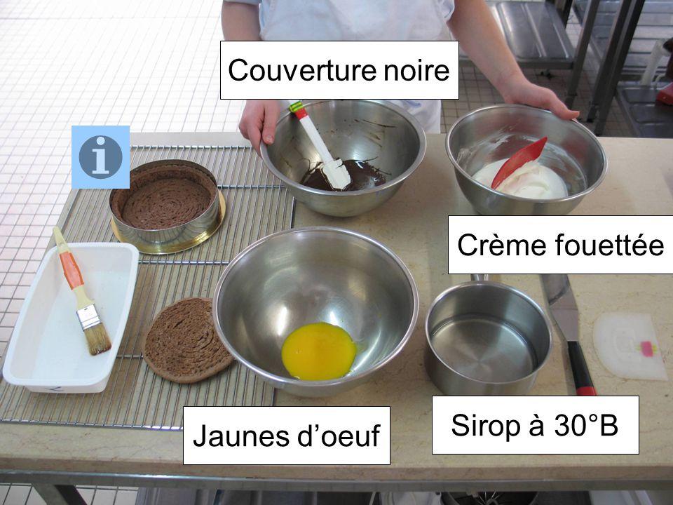 Jaunes doeuf Sirop à 30°B Crème fouettée Couverture noire