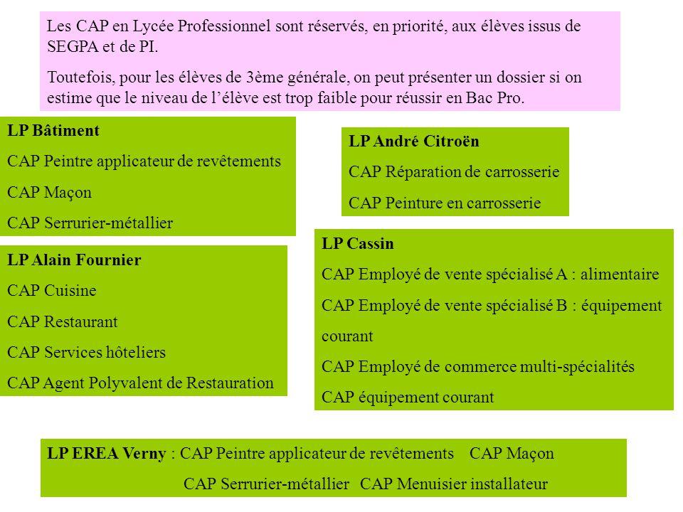 Les CAP en Lycée Professionnel sont réservés, en priorité, aux élèves issus de SEGPA et de PI. Toutefois, pour les élèves de 3ème générale, on peut pr