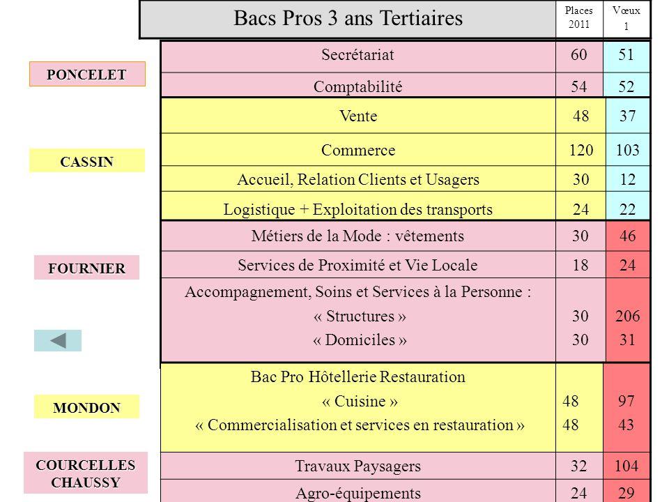 Secrétariat6051 Comptabilité5452 Bacs Pros 3 ans Tertiaires Places 2011 Vœux 1 Vente4837 Commerce120103 Accueil, Relation Clients et Usagers3012 Logis