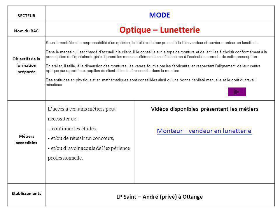 Bac pro Optique lunetterie Le (la) titulaire de ce diplôme exerce son activité sous la responsabilité dun(e) opticien(ne) lunettier(ère).