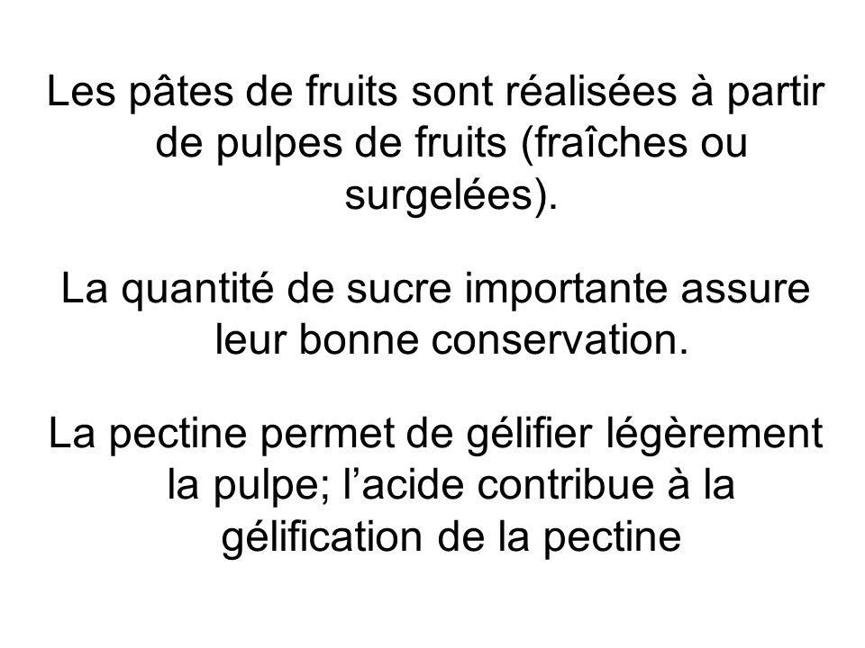 Les pâtes de fruits sont réalisées à partir de pulpes de fruits (fraîches ou surgelées). La quantité de sucre importante assure leur bonne conservatio