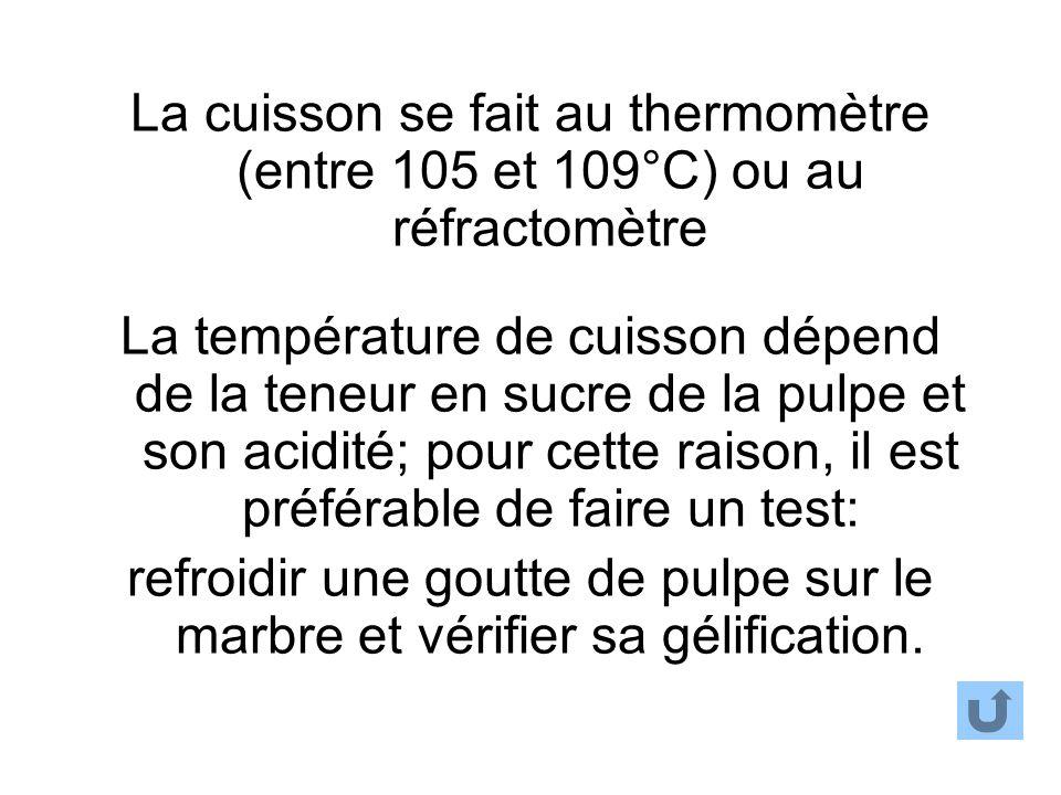La cuisson se fait au thermomètre (entre 105 et 109°C) ou au réfractomètre La température de cuisson dépend de la teneur en sucre de la pulpe et son a