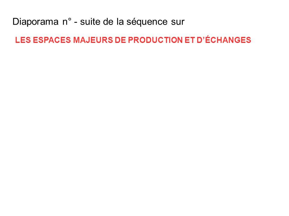 Diaporama n° - suite de la séquence sur LES ESPACES MAJEURS DE PRODUCTION ET DÉCHANGES