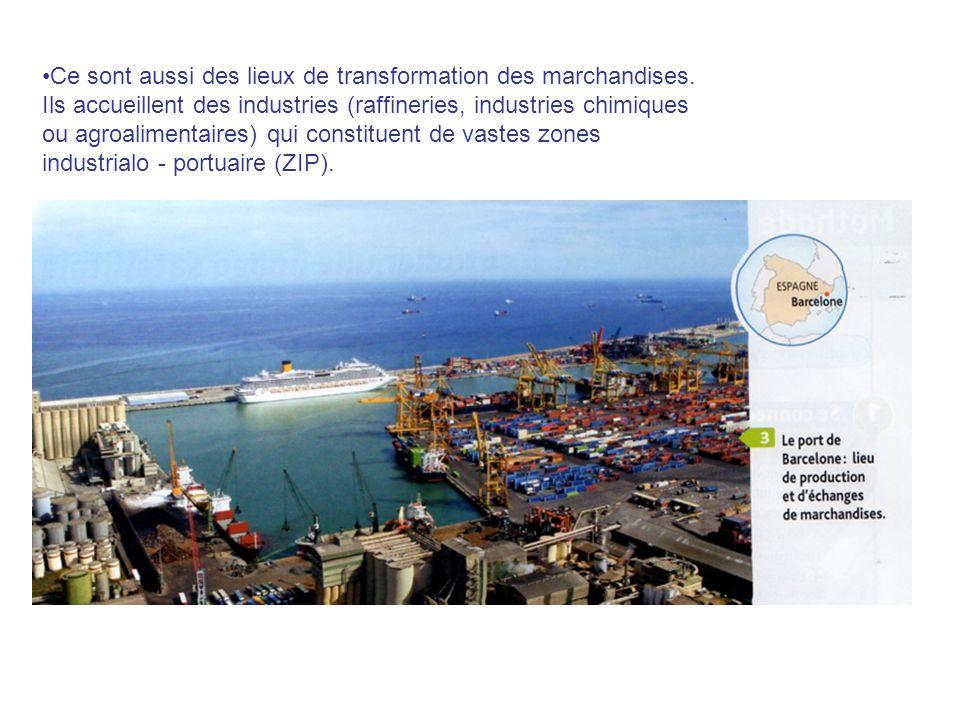 Ce sont aussi des lieux de transformation des marchandises. Ils accueillent des industries (raffineries, industries chimiques ou agroalimentaires) qui