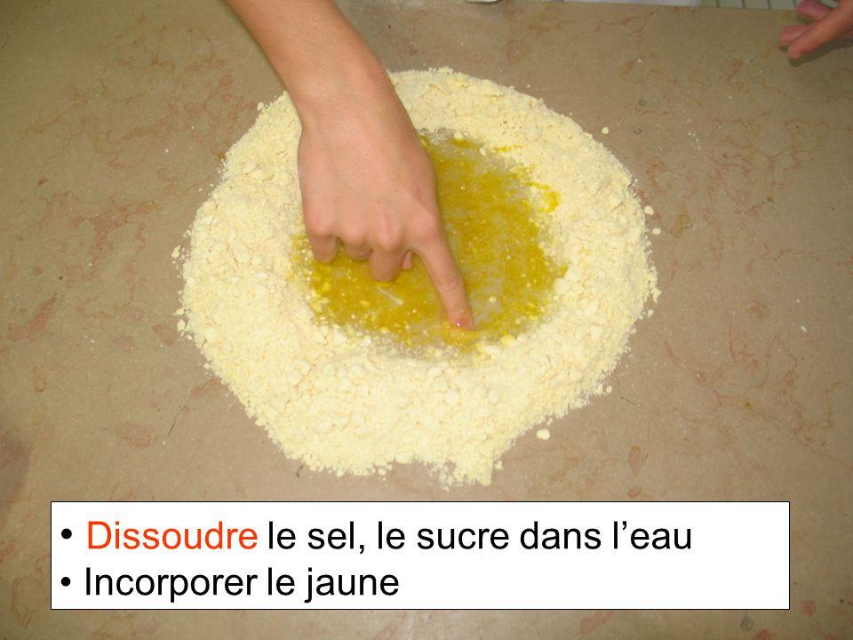Dissoudre le sel, le sucre dans leau Incorporer le jaune