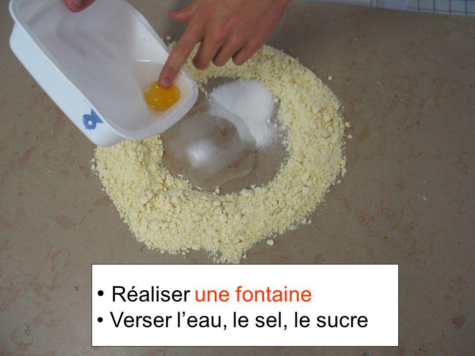 Réaliser une fontaine Verser leau, le sel, le sucre