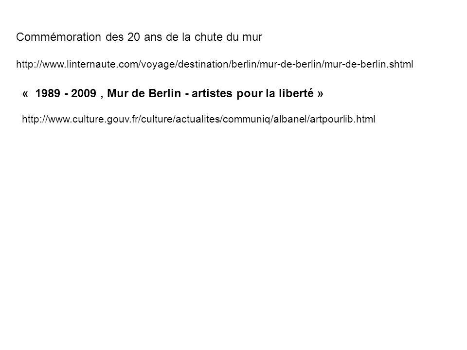 Commémoration des 20 ans de la chute du mur http://www.linternaute.com/voyage/destination/berlin/mur-de-berlin/mur-de-berlin.shtml « 1989 - 2009, Mur de Berlin - artistes pour la liberté » http://www.culture.gouv.fr/culture/actualites/communiq/albanel/artpourlib.html