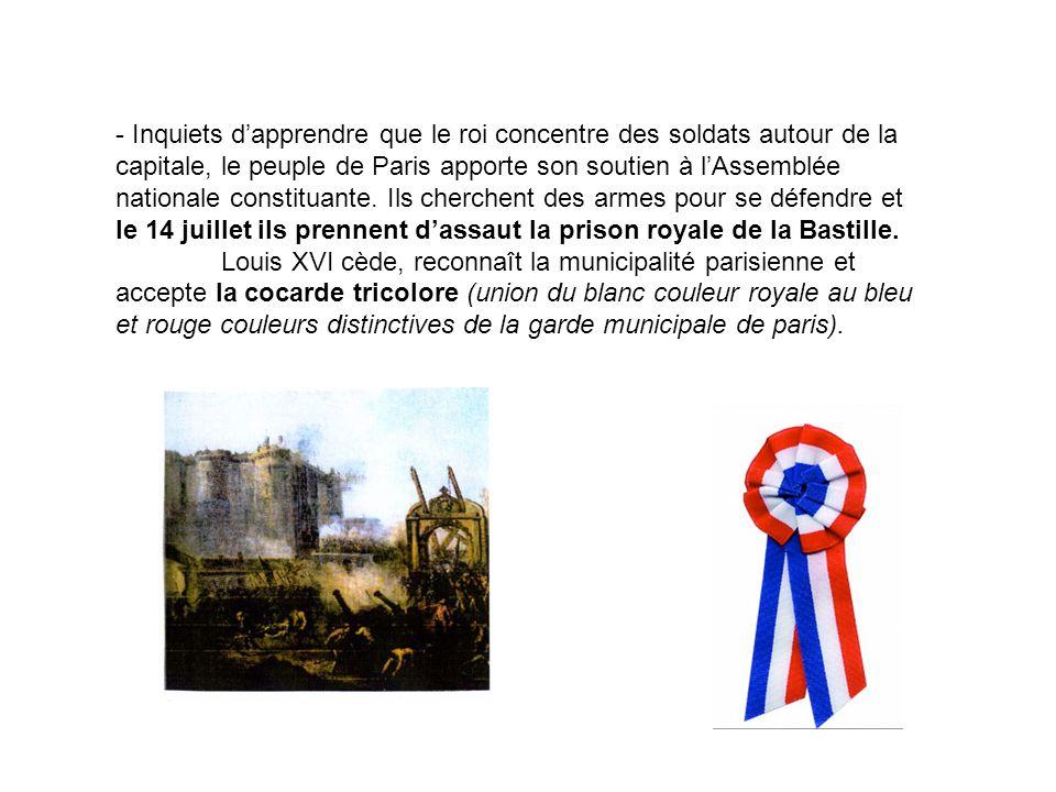 - Inquiets dapprendre que le roi concentre des soldats autour de la capitale, le peuple de Paris apporte son soutien à lAssemblée nationale constituan