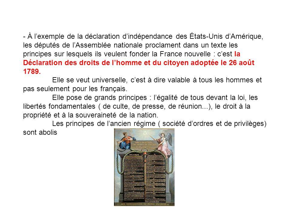 - À lexemple de la déclaration dindépendance des États-Unis dAmérique, les députés de lAssemblée nationale proclament dans un texte les principes sur