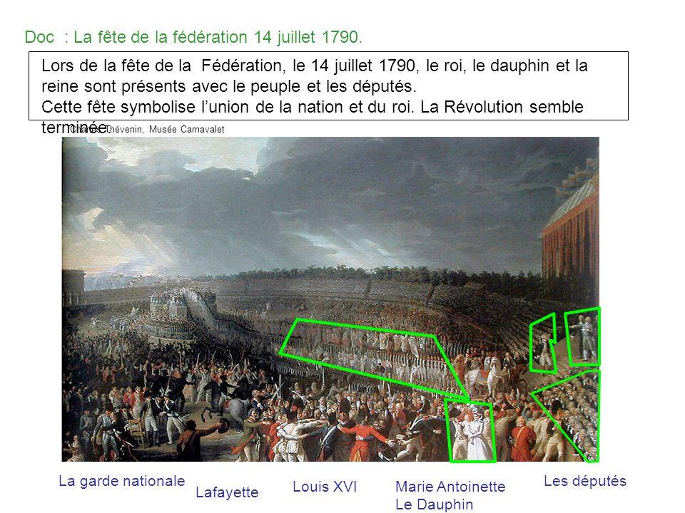 Doc : La fête de la fédération 14 juillet 1790. La garde nationale Lafayette Louis XVIMarie Antoinette Le Dauphin Les députés Charles Thévenin, Musée