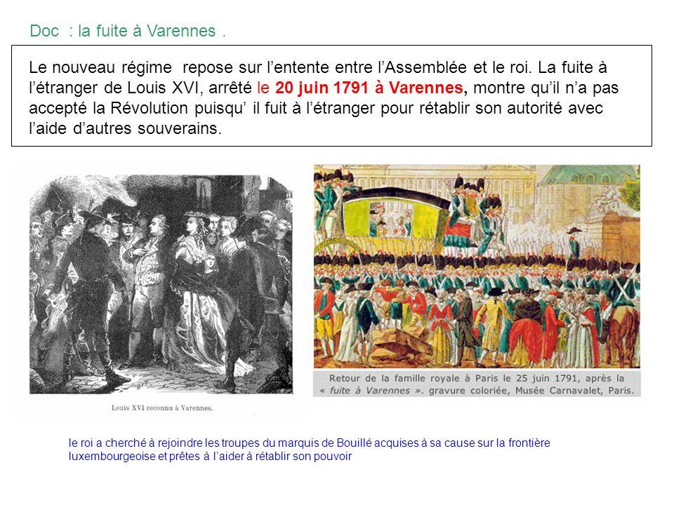 Doc : la fuite à Varennes. Le nouveau régime repose sur lentente entre lAssemblée et le roi. La fuite à létranger de Louis XVI, arrêté le 20 juin 1791