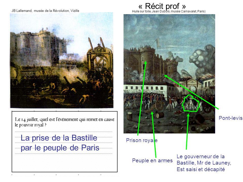 Prison royale Pont-levis Peuple en armes Le gouverneur de la Bastille, Mr de Launey, Est saisi et décapité La prise de la Bastille par le peuple de Pa