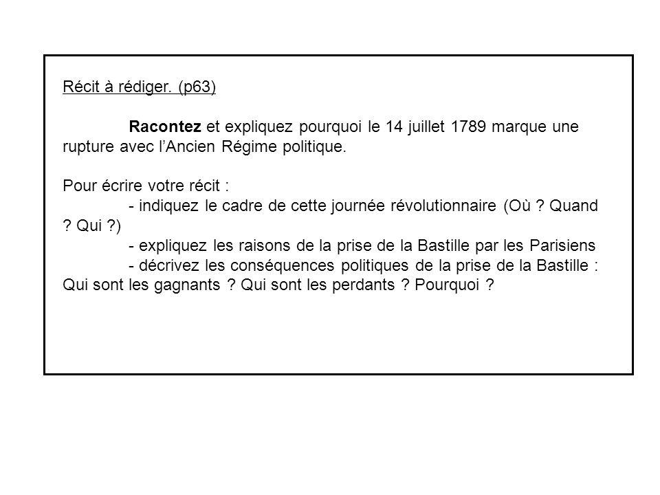 Récit à rédiger. (p63) Racontez et expliquez pourquoi le 14 juillet 1789 marque une rupture avec lAncien Régime politique. Pour écrire votre récit : -