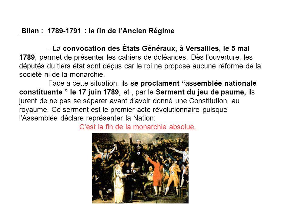 Bilan : 1789-1791 : la fin de lAncien Régime - La convocation des États Généraux, à Versailles, le 5 mai 1789, permet de présenter les cahiers de dolé