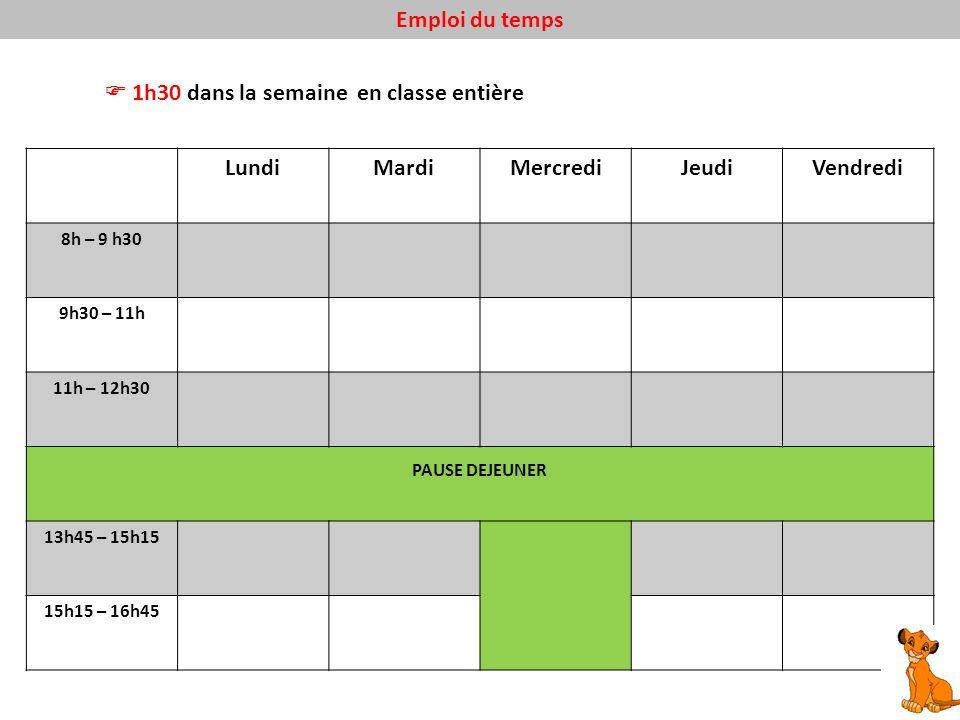 Emploi du temps 1h30 dans la semaine en classe entière LundiMardiMercrediJeudiVendredi 8h – 9 h30 9h30 – 11h 11h – 12h30 PAUSE DEJEUNER 13h45 – 15h15