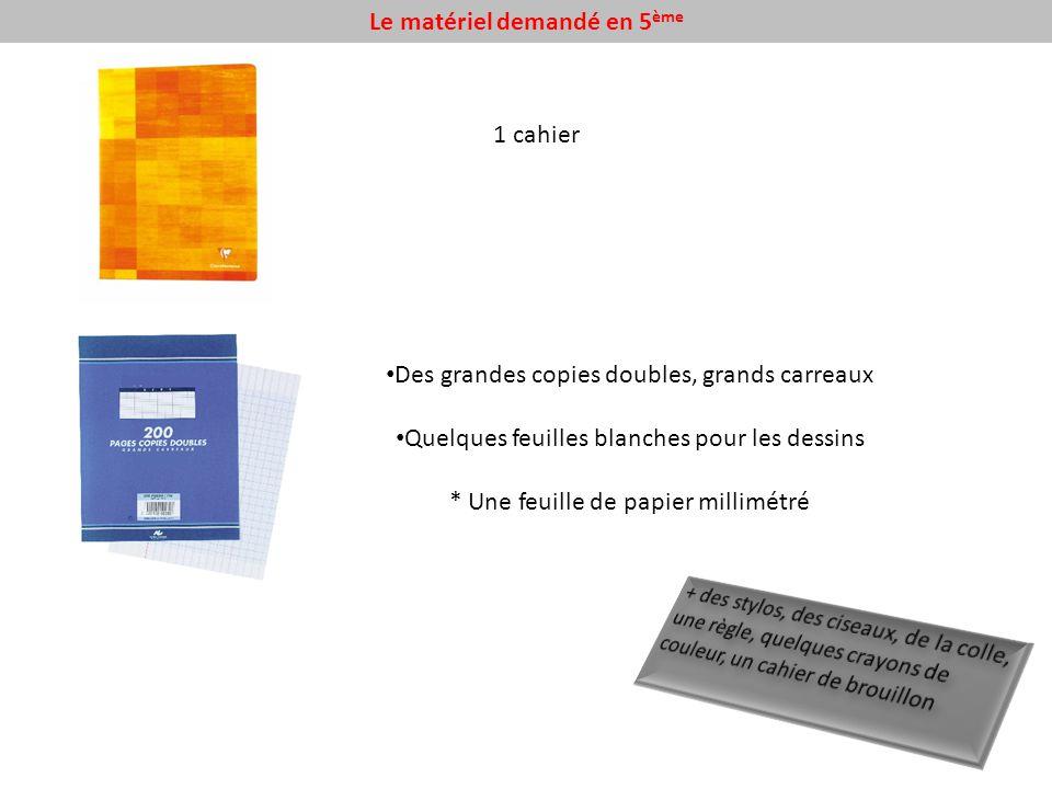 Le matériel demandé en 5 ème 1 cahier Des grandes copies doubles, grands carreaux Quelques feuilles blanches pour les dessins * Une feuille de papier