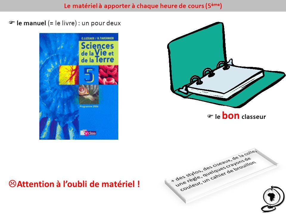 Le matériel à apporter à chaque heure de cours (5 ème ) le manuel (= le livre) : un pour deux le bon classeur Attention à loubli de matériel !