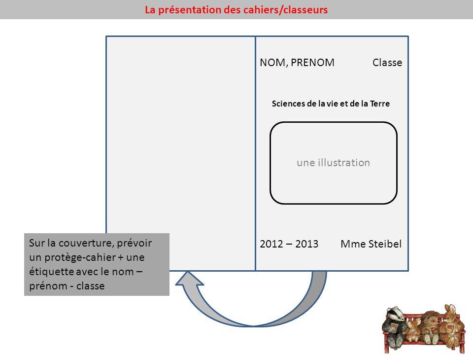 La présentation des cahiers/classeurs NOM, PRENOM Classe Sciences de la vie et de la Terre 2012 – 2013 Mme Steibel une illustration Sur la couverture,